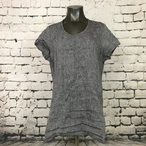 FLAX Shirt Linen Gray Short Sleeve Scoop Neck Med